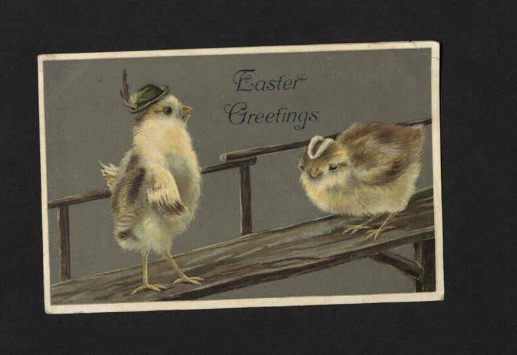 'Easter/ Greetings' Easter Postcard. 12 April 1909