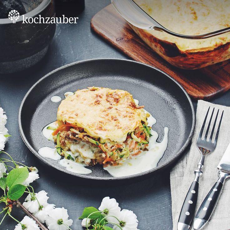 Gemüse-Hackfleisch-Lasagne al forno mit leichter Frischkäsesauce aus der Kleine Helden Kochbox.