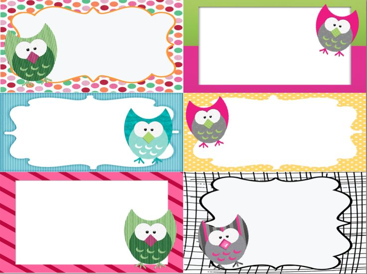 "Owl labels/tags for bigger items. This pdf can be printed onto ""sticker"" paper or cardstock depending on your needs."