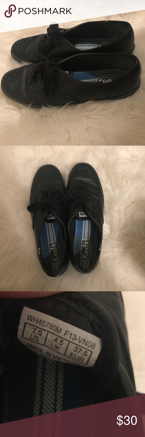 Black leather Keds tennis shoes Barely worn, (maybe twice) no box. Very good condition Keds Shoes Sneakers