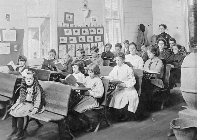 One-room school, Marion County, WV  about 1900.--My Granny taught school in a one-room school in Claymore, Ky. Rode a mule to school.