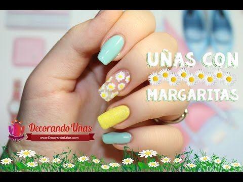 Uñas decoradas con margaritas – Video tutorial paso a paso | Decoración de Uñas - Manicura y Nail Art
