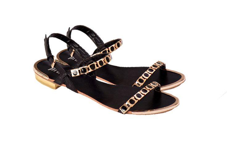 Black and gold Prato sandals