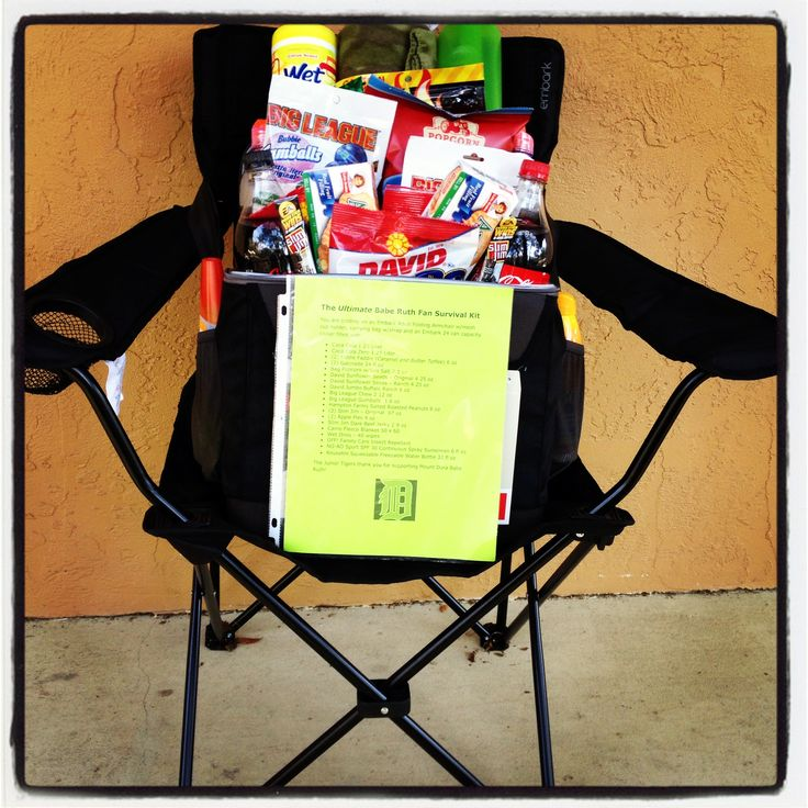 Silent Auction Basket Idea. Cooler filled with tons of baseball snacks,  bug spray, sunblock, fleece blanket, reusable water bottle and wet ones. Cooler is then placed on folding armchair. Most of the snacks came from The Dollar Tree. Chair and Cooler cost approx. $30 and came from Target. Approx $60 total investment (Five dollars from each players family)