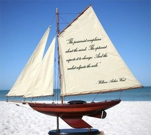 Wooden Quote Sailboat: The Pessimist