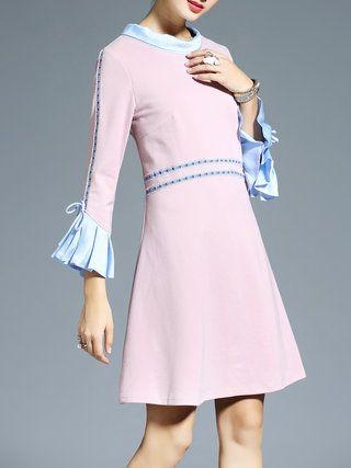 Pink A-line Elegant Ruffled Mini Dress