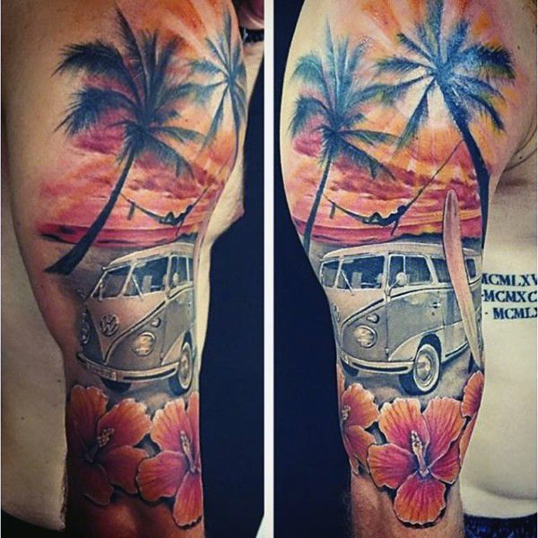 Beautiful beach tattoo design in red hue. Red and orange colors dominate the design as you can see a woman's silhouette resting on a hammock while her car and surf board are parked on the side of the beach.