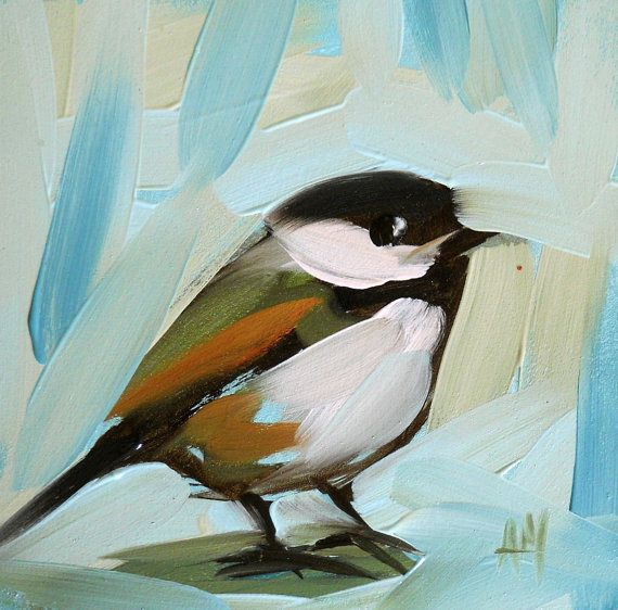 chickadee no. 76 bird print by moulton 4 x 4 inch prattcreekart