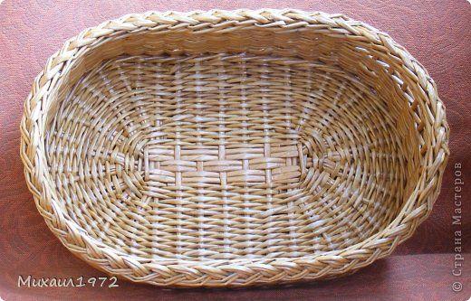 Поделка изделие Плетение Плетёный поднос Трубочки бумажные фото 3