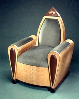Modern Art Deco Club Chair is art deco at it's finest. A custom crafted work of art by artisan furniture designer, Steve Holman, created with curly cherry veneers, wenge, exotic purpleheart, gold leaf and velvet.  Each chair is unique.