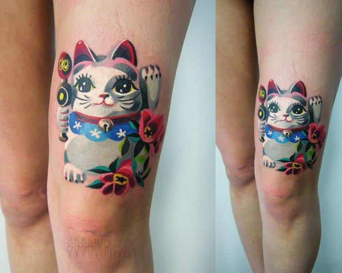 Leg Maneki Neko Tattoo by Sasha Unisex
