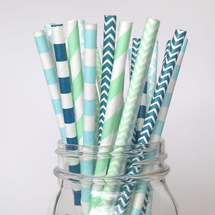 Boy Baby Shower Straws Boy Party Decor Mint Green Straws, Turquoise blue Navy Paper Straws birthday party straws Mint Navy Wedding Decor by Twigsandtwirlsllc on Etsy https://www.etsy.com/listing/228600713/boy-baby-shower-straws-boy-party-decor