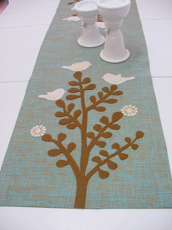 Thick Linen Table Runner-Cream-Coffee Felt Appliqued by Tree, Birds Shapes and Doily -Groundcloth by Light Turquoise - Keçe aplikeli runner