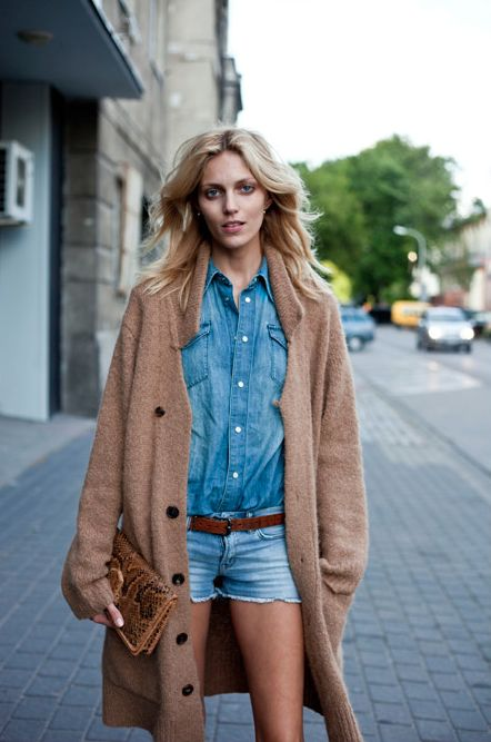 long cardi & double denim all the way from Warsaw. #AnjaRubik #offduty