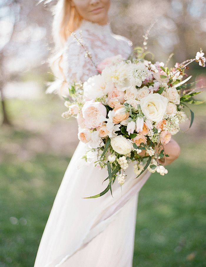 Peach and Blush Pink Spring Bouquet