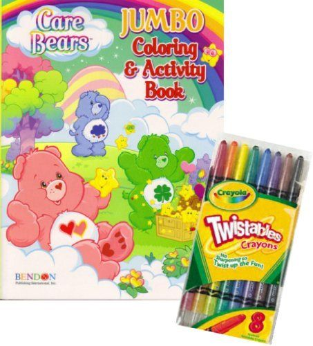 """Care Bears® Coloring Book Set with Crayola Twistable Crayons by Care Bears. $9.95. Games, puzzles, mazes and coloring fun with Care Bears® characters.. Delight your Care Bears® fan with Care Bears® Coloring Book Set with Crayola Twistable Crayons.. Includes package of full sized Crayola Twistable Crayons.. Book measures approximately 8"""" x 10.75"""" and has about 90 pages.. Great gift for your favorite Care Bears® enthusiast! This coloring and activity set will provide many..."""