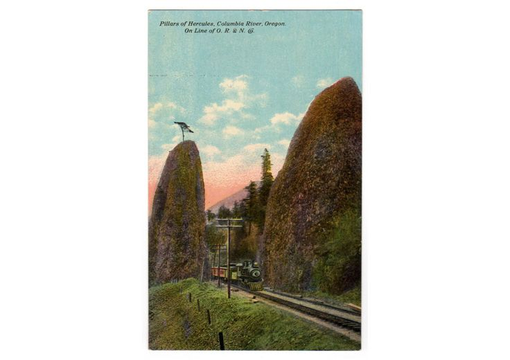 Vintage 1910's Pillars of Hercules Columbia River Oregon Postcard O R and N Train Railroad A 8461 Unused