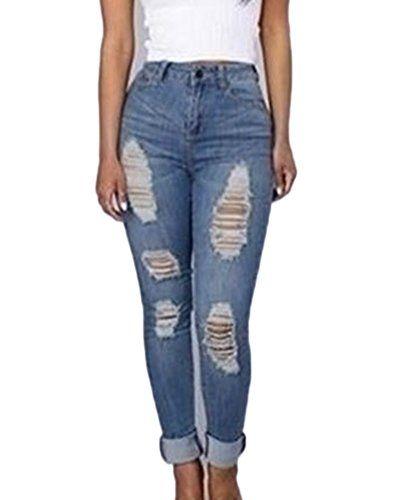 Femme Denim Pantalons Taille Haute Jeans Slim Leggings Collant Crayon Casual  Boyfriend Déchiré Pants Bleu Clair 050bef88d25