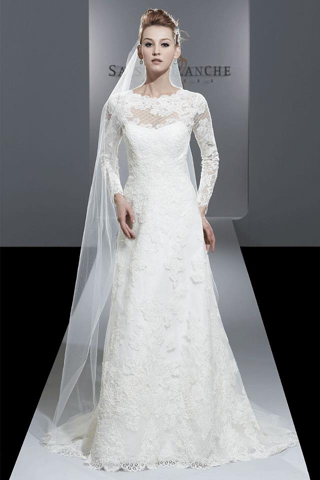 Modest wedding dress lace long sleeve illusion style for Pinterest wedding dress lace