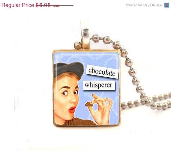 ON SALE Chocolate Whisperer...Scrabble Tile Necklace. $5.00, via Etsy.: Scrabble Tiles, Chocolate Whisperer Scrabble, Whisperer Scrabble Tile
