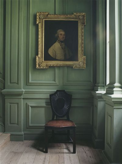 Beautiful green paneling, painting in gilt frame & side chair. chairhttp://www.today.com/popculture/jennifer-aniston-strips-down-opens-unfair-motherhood-expectations-1D80371301