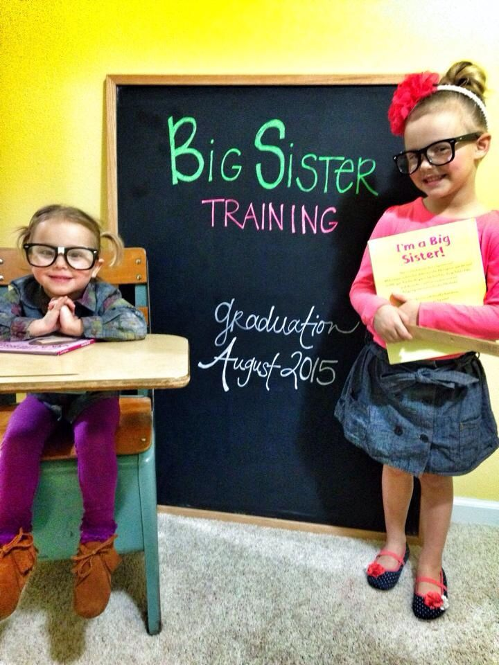 Big sisters. Baby announcement.  Big sisters in training.  Siblings.  Baby #3.