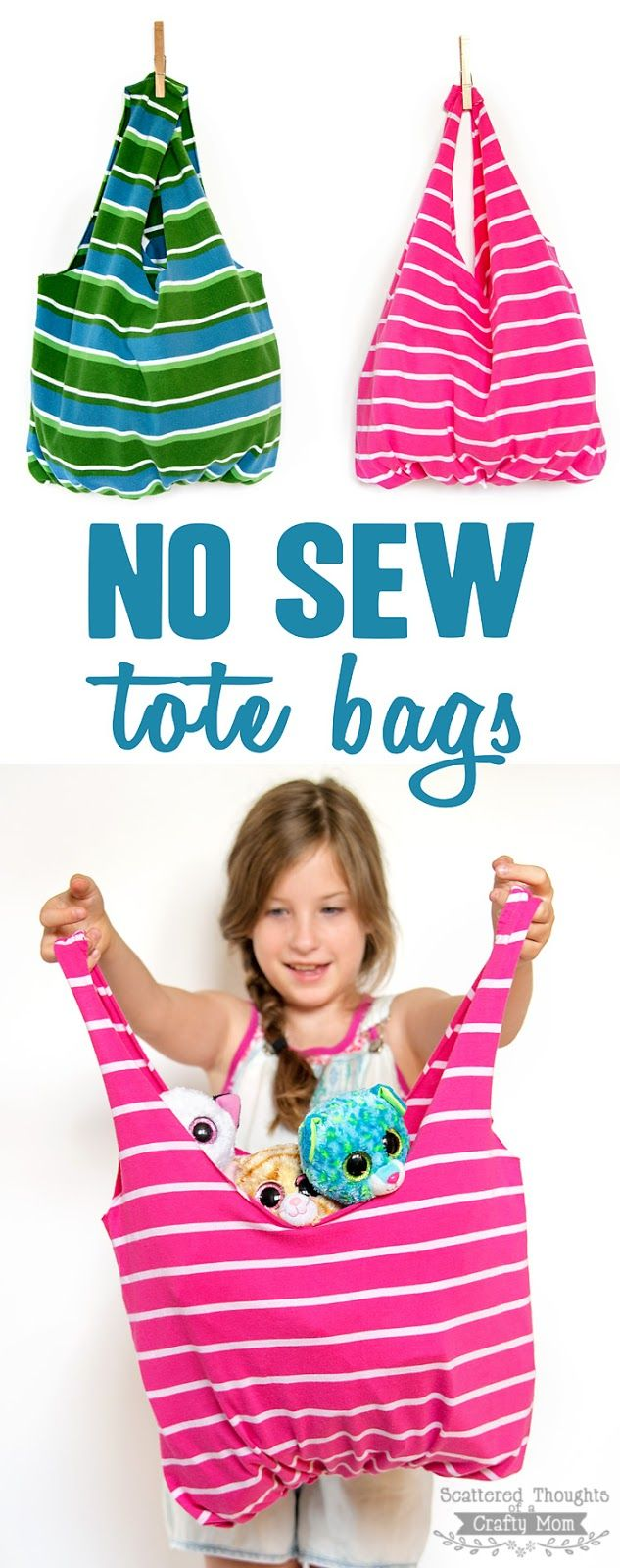Apprenez à faire ces pas de sacs fourre-tout cousus.  Tout ce que vous avez besoin est un vieux T-shirt et une paire de ciseaux!  (Upcycling / recyclage à son meilleur!)