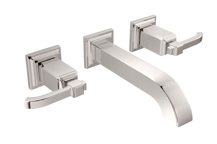 Pfister GT49-WE1 Carnegie Wall Mounted Bathroom Faucet - Less Rough In Valve Polished Nickel Faucet Lavatory Double Handle