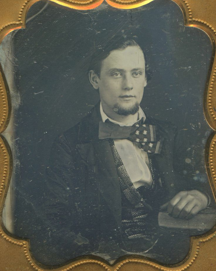 Antique Daguerreotype Handsome Blue Eyed Young Man Goatee Funny Bow Tie Photo | eBay