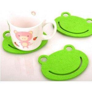 FELT COASTER/SETOF 4/frog felt coaster/Cute Gift/wool felt/wool felt coaster/felt coasters/Drink Coasters/gift/green coaster