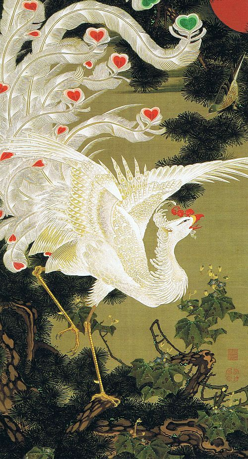 """Japanese Art - 若冲 老松白鳳図(ろうしょうはくほうず)