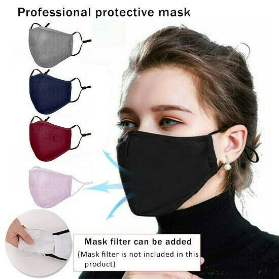 Reusable Washable Soft Cotton Double Layer Unisex Face Mask With Filter Pocket In 2020 Mask Mouth Mask Dust Mask