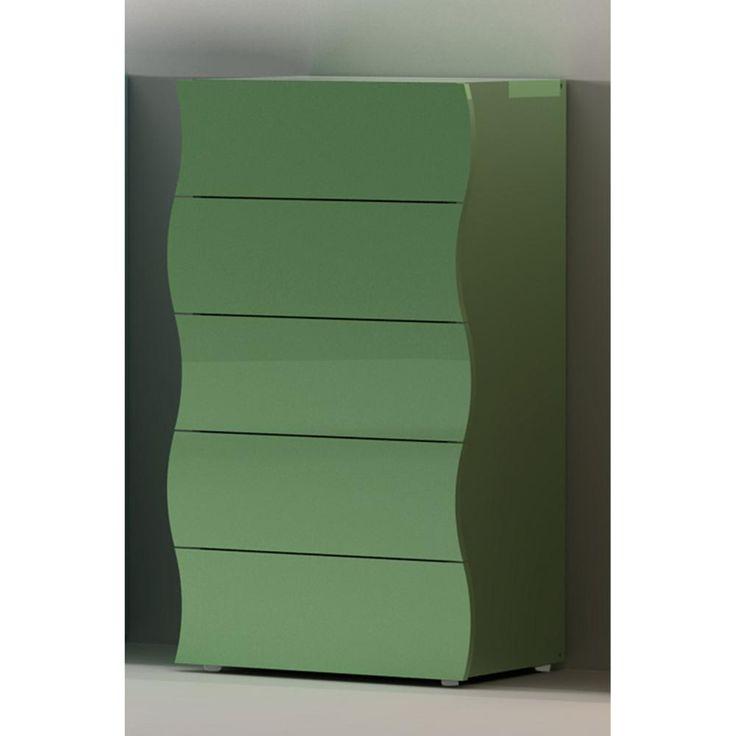 Cassettiera mobile 5 cassetti 52-60x40xh102 cm ONDA in melaminico laccato bianco lucido | Tecnos Arredamento | Stilcasa.Net: cassettiere