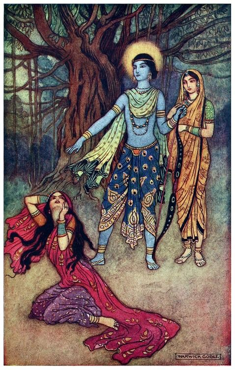 Rama spurns the demon lover.  The demon lover was sister of Ravana.  Warwick Goble, from Indian myth and legend, by Donald Alexander Mackenzie, London, 1913.