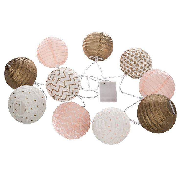 Guirlande Lumineuse 10 Boules Led Dorée Et Rose – Taille : Taille Unique