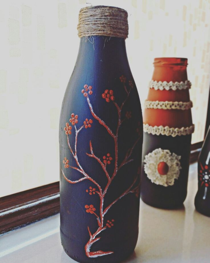 Decorating recycled bottles turned into a vase - made by PandaLav Design