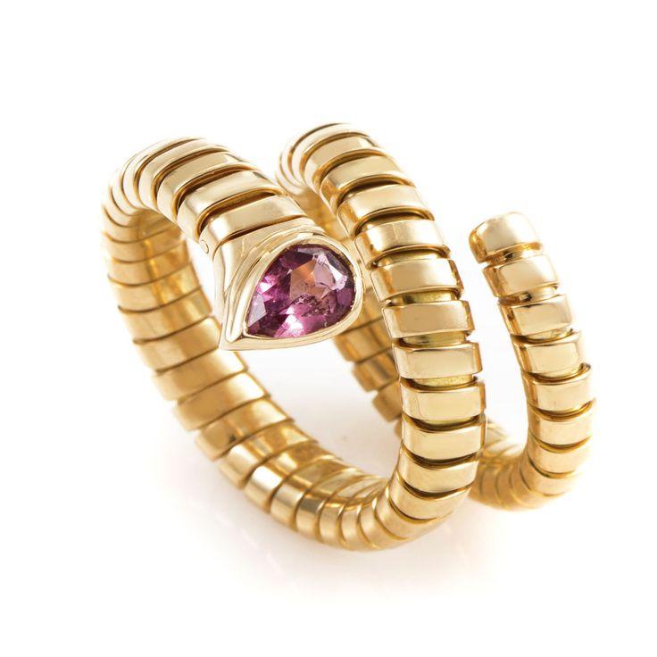 bvlgari tubogas 18k yellow gold tourmaline ring