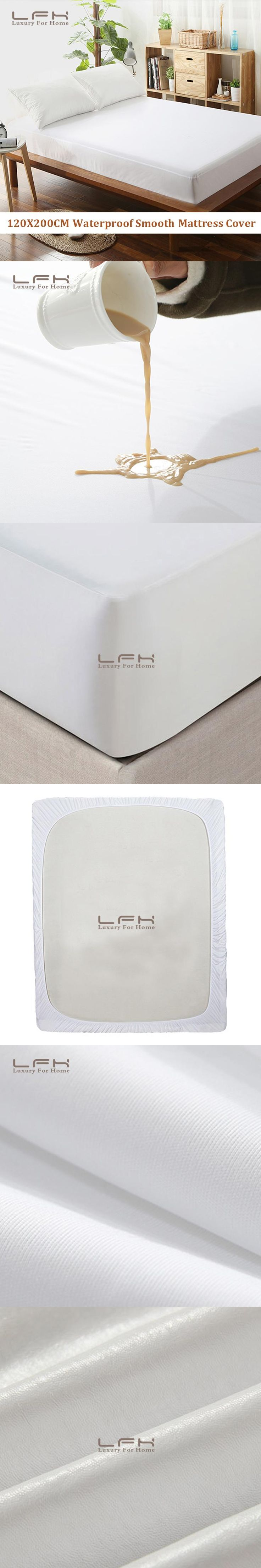 LFH 120X200cm Smooth Mattress Pad Cover 100% Waterproof  Mattress Protector Fitted Sheet Style Bed Sheet  Easy to Clean