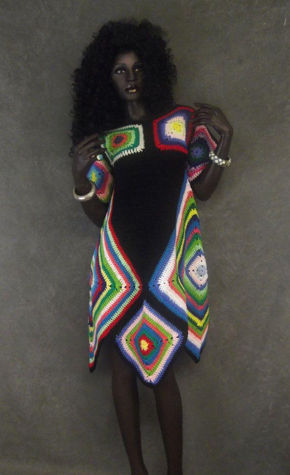 Retro Crochet Dress Granny Square Dress Black by UniquelyEwe