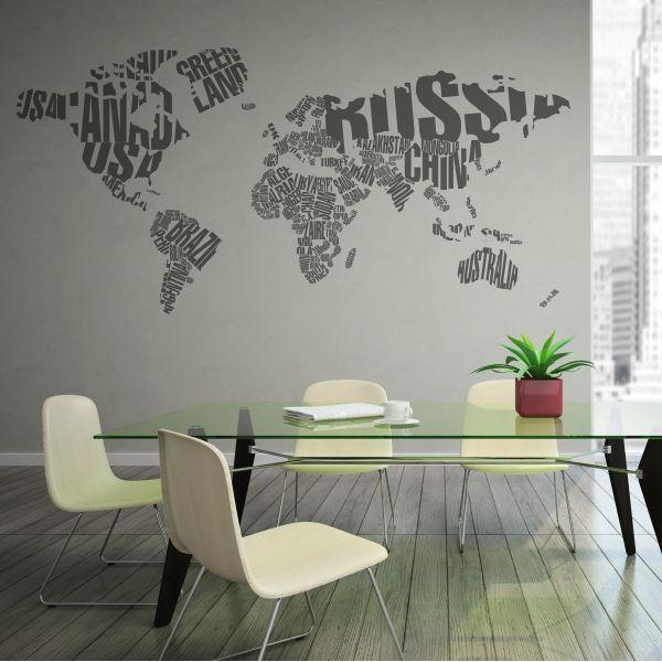 Vinilo decorativo del mapa mundo formado con los nombres de los países. Masquevinilo.com