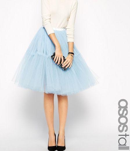 Asos Tiulowa spódnica błękitna