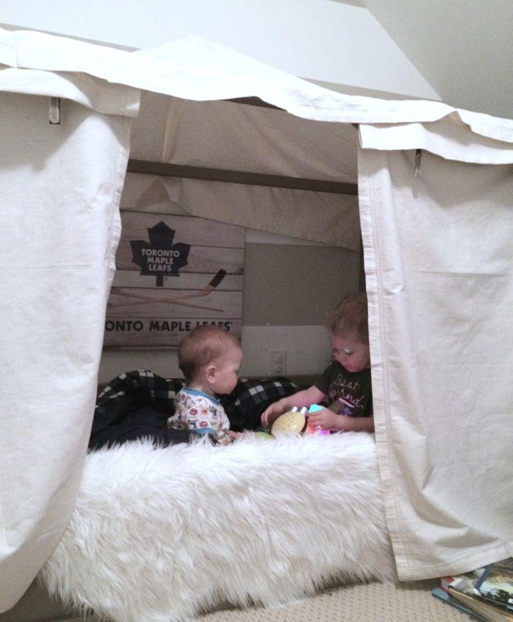 Harlow thistle diy boy canopy bed ikea kura hack for Canopy boys
