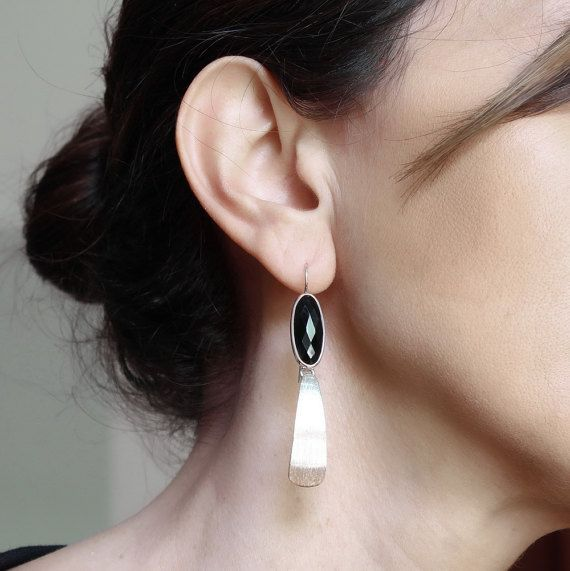 Long black onyx earrings Sterling silver dangle earrings Geometric jewelry Long drop earrings Edgy jewelry