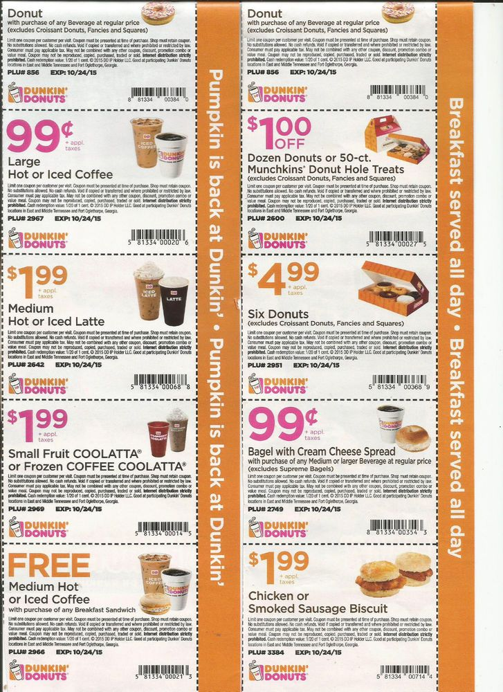 10 DUNKIN DONUTS COUPONS BAGEL CHICKEN SAUSAGE BISCUIT MUNCHKINS FAST SHIPPING!!