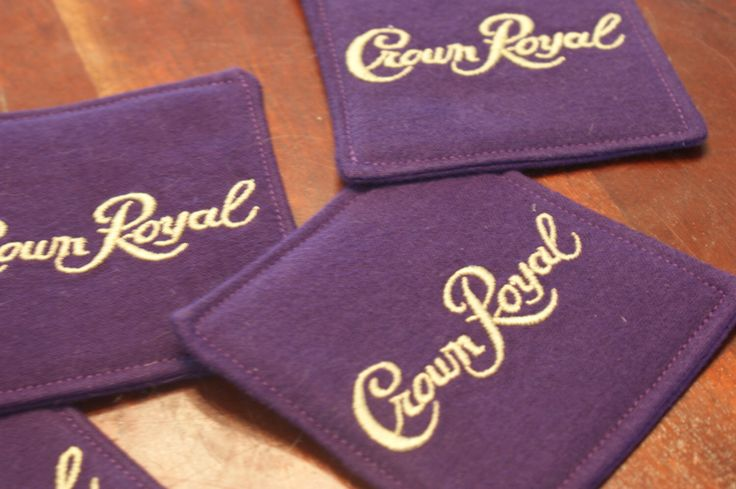Crown Royal Coasters, Set of 4, Made from genuine Crown Royal Bags, Father's Day, Gifts under 20, Etsy Dudes, Birthday Gift, Groomsman Gifts by LuluBelleQuilts on Etsy https://www.etsy.com/listing/201488760/crown-royal-coasters-set-of-4-made-from