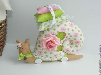 fabric snail in pink & green with pillows