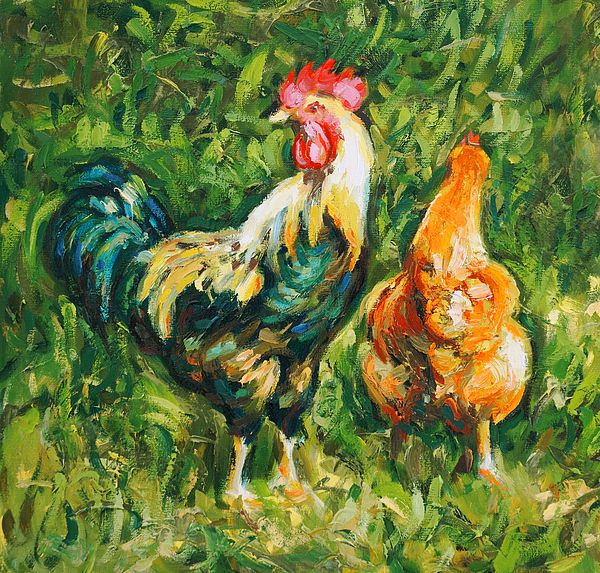Rooster and Hen. Contemporary #impressionist oil painting by Dusan Balara