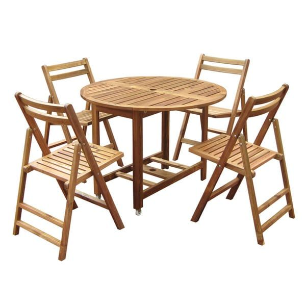 Merry Products Round 5 Piece Outdoor Folding Table Set (MPG TBS01),  Natural, Size 5 Piece Sets, Patio Furniture (Wood)