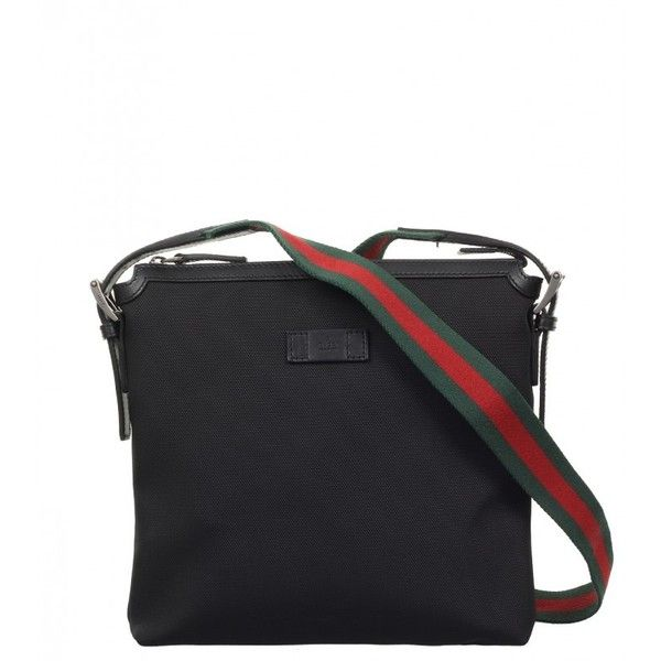 Gucci Black Canvas Techno Messenger Bag (800 CAD) ❤ liked on Polyvore featuring men's fashion, men's bags, men's messenger bags, gucci mens messenger bag and mens canvas messenger bags