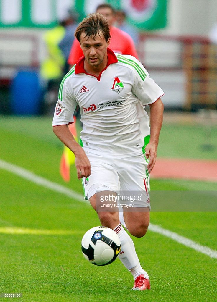 Dmitri Sychev of FC Lokomotiv Moscow in action during the Russian Football League Championship match between FC Lokomotiv Moscow and FC Tom Tomsk at the Lokomotiv Stadium on July 12, 2009 in Moscow, Russia.